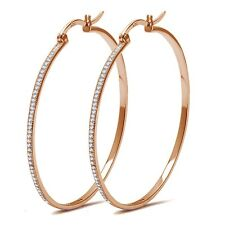 Rose Gold Simulated Micro Pave Diamonds Sterling Silver Hoop Earrings - 50mm