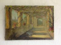 405KS1 Altes Gemälde Laubengang, Pergola, undeutlich signiert: od. Fontaine ?