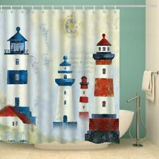 "Light House Shower Curtain Polyester Fabric Bathroom Decor with 12 Hooks 71""x71"""