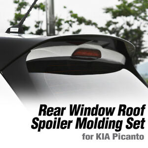 Rear Wing Roof Spoiler + Side Spoiler Painted Set For KIA 2018 2019 Picanto