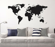 "World Map Vinyl Wall Decal Globe Decor Sticker Black 44"" x 23"""