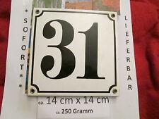 Hausnummer Nr. 31 schwarze Zahl auf weißem Hintergrund 14cm x 14cm .....