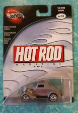 Hot Wheels 100 % Preferred Hot Rod Magazine Grey '34 Ford Coupe w/Real Riders
