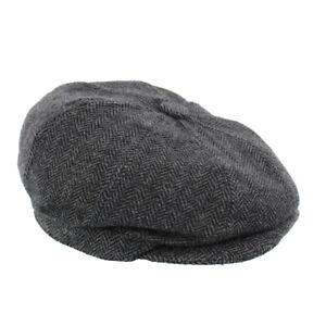 Children's Herringbone Bakerboy Cap Black/Grey Elasticated 54cm