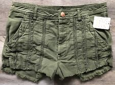 FREE PEOPLE New Women's Buttons Fly Cut-Off-Hem Moss Shorts Size 12