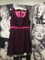 REVIEW Stunning Black And Pink Lace Sleeveless Fit And Flare Dress Size 14 EUC