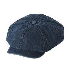 WITHMOONS Denim Cotton Newsboy Hat Baker Boy Beret Flat Cap KR3613 Darkblue