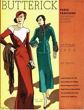 1930s Butterick Quarterly Catalog Fall 1932 Pattern Book Catalog E-Book on CD