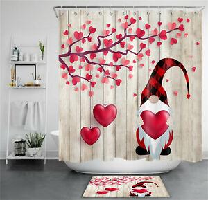 Valentine's Day Gnome Love Hearts Wood Boards Shower Curtain Set Bathroom Decor