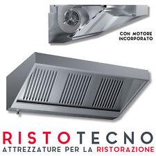 Cappa Aspirazione Acciaio inox a parete professionale CON MOTORE cm 200x70x45H.