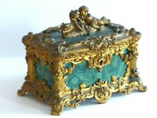 Antique TAHAN 19th Century French Ormolu / faux Malachite Table Casket / Box