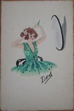 1920 Hand-Painted, Original Art Postcard - Art Deco Woman Looking in the Mirror