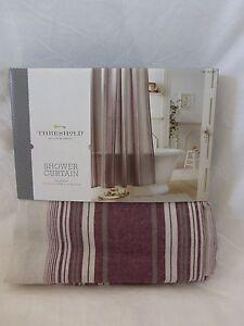 "New Threshold Red Taupe  and Tan Stripe Fabric Shower Curtain 72"" x 72""  NIP"