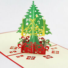 1Pc 3D Pop Up Origami Greeting Christmas Cards Stereoscopic Christmas Tree Gift