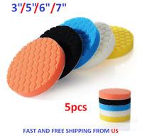 "5Pcs 3""/5""/6""/7"" Polishing Waxing Buffing Sponge Pads Kit Compound Car Polisher"