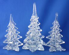 "set of 3 art glass Christmas tree figurine solid clear glass 6"" to 7½"" tall"