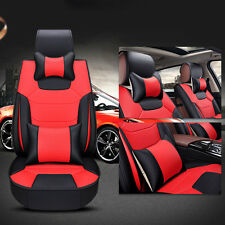 5-Seats Car Seat Covers W/Pillows Front&Rear Cushions Pad Mat Mircofiber Leather