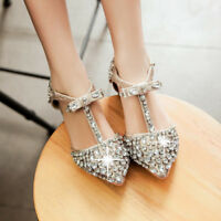 Women Summer Sexy Rhinestone Pointed Toe T-strap Shoes Flat Sandals Casual Shoes