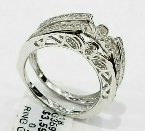 Clearance White Gold Solitaire Enhancer Round Diamond Ring Guard Cathedral .25