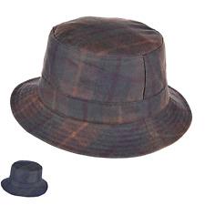 British Waxed Cotton Bucket Bush Hat Tartan Wax Water Resistant ZH213
