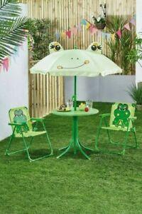 3 Piece Kids Garden Furniture Set Parasol Green Storage Space Chair Patio