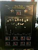 Star Trek Voyager (9) Cast Members Signed & Framed BLK & WHT Lithograph Photo