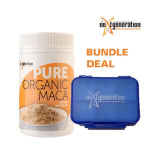 Maca Pure Organic 120 tablets 1000mg & 1 x Small Pill Box - Blue