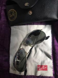 Ray-Ban Aviator Classic Sunglasses Bausch & Lomb 58mm Black Frame Green Lenses