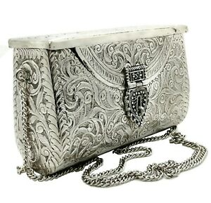 silver Handmade Bridal Women Antique Brass Purse Ethnic Metal party gift Clutch