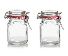 2 x Mini Kilner Preserve Jars With Clip Top Seal Small Square Spice Jars 70ML
