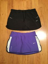 Nike DriFit Women's Tennis Running Skort Skirt Lot Of Two Black Purple Size M