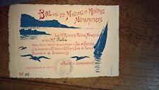 carton billet entrée bal MARINE 1ers Maitres et Maitres mécaniciens TOULON 1900