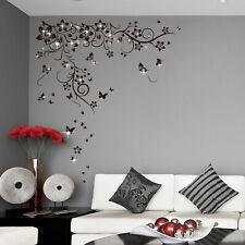 Walplus Wall Sticker Black Butterfly Vine Swarovski Crystals Home Decorations