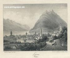 Lugano Gesamtansicht Original Lithographie  von Lemercier nach Du Bois ca. 1840