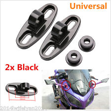 2x Black Motorcycle CNC Aluminum Rearview Mirror w/Fairing Adapters Mount Holder