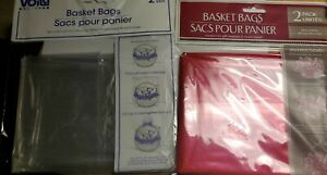 """VOILA  """"RED or  CLEAR"""" BASKET BAGS (2each in a pack)"""