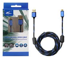 PS4 Micro USB Kabel 3m Schnelllader 24K Vergoldet XBOX ANDROID Handy PREMIUM TOP