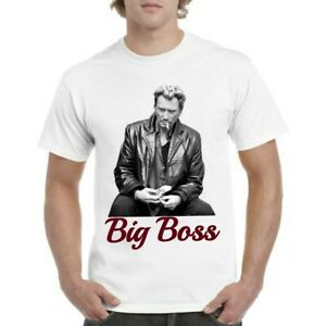 Tee-shirt Johnny Hallyday big boss rock n roll harley Davidson Top qualité