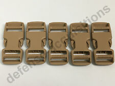 SET OF 5 Side Release Side Squeeze Dual Adjust Buckle 1 INCH - SAND