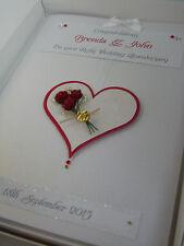 Personalised Ruby 40th Wedding Anniversary Card, Swarovski crystals, boxed