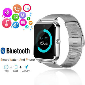 Silver Bluetooth Smart Wrist Watch Steel Band Phone Mate for Android iPhone iOS