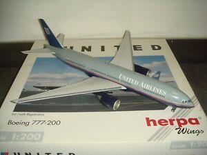 "Herpa Wings 200 United Airlines UA B777-200 ""Battleship color"" 1:200 Resin"