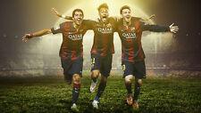 neymar messi suarez FC Barcelona Silk Poster/Wallpaper 24 X 13 inches