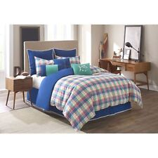 3 pcs Southern Tide Twin Duvet Cover, Standard Euro Shams Set Prep School Plaid