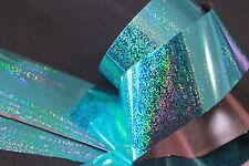 """Cyan glitter dust"" transfer nail foil - 1 meter"