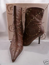 LUNA ROSA by PAZZO Brown Leather with Studs High Heel Boots Size 6 1/2