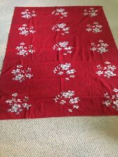 Vintage Red Tablecloth With Dogwood Flowers