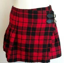 Burberry London Red Black Plaid Tartan US 4 Mini Pleated Buckle Skirt Wool