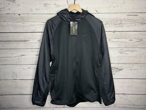 Nike Mens Black Therma Winterized Full Zip Hoodie Jacket Size Medium NWT