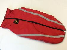 Red 5xl dog coat with reflective stripes 70cm long 35cm depth